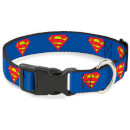buckle-down-dc-comics-superman-plastic-clip-dog-collar-blue-various-sizes-s-13-18-inches