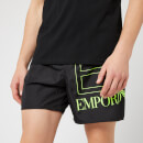Emporio Armani EA7 Men's Sea World BW Big Logo Boxer Swim Shorts Nero 52 Inch-XL Black