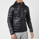 Emporio Armani EA7 Men's Down Hooded Jacket Black-Gold S Black