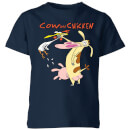 cow-and-chicken-characters-kids-t-shirt-navy-3-4-jahre-marineblau