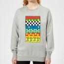disney-donald-duck-vintage-pattern-damen-sweatshirt-grau-5xl-grau