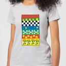 disney-donald-duck-vintage-pattern-damen-t-shirt-grau-3xl-grau