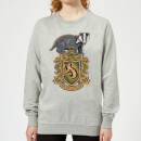 harry-potter-hufflepuff-drawn-crest-women-s-sweatshirt-grey-l-grau