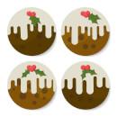 Christmas Pudding Coaster Set