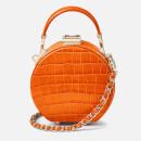 Aspinal of London Women's Micro Deep Shine Small Croc Hat Box Bag - Marmalade