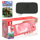 Nintendo Switch Lite (Coral) Minecraft Pack