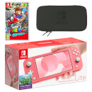 Nintendo Switch Lite (Coral) Super Mario Odyssey Pack
