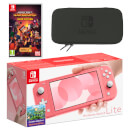 Nintendo Switch Lite (Coral) Minecraft Dungeons - Hero Edition Pack