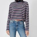 Tommy Jeans Women's TJW Striped Hybrid Longsleeve Top - Twilight Navy/Wine Red