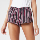 Les Girls Les Boys Women's Woven Shorts - Black Stripe