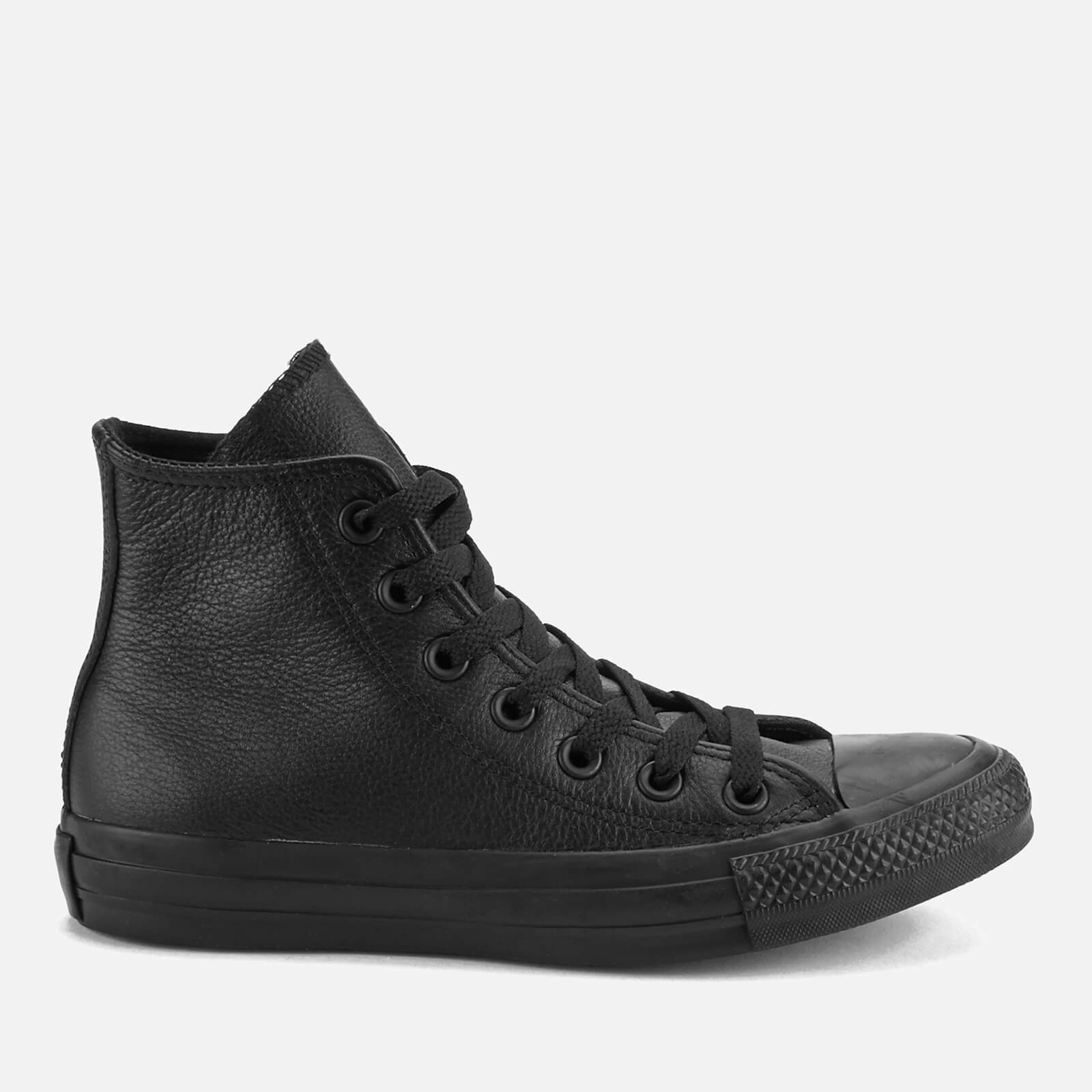 Converse Chuck Taylor All Star Leather Hi-Top Trainers - Black Mono - UK 4