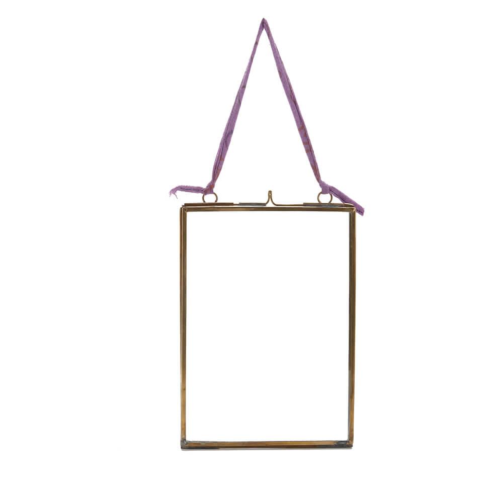 Nkuku Kiko Antique Brass Glass Frame - Portrait 7 x 5