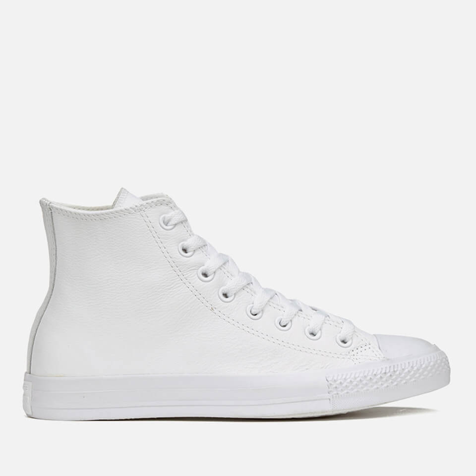 Converse Chuck Taylor All Star Leather Hi Top Trainers White Monochrome Uk 10