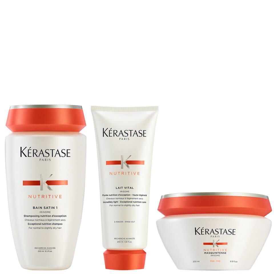 Kérastase Nutritive Bain Satin 1 250 ml, Nutritive Latte Vitale e Masquintense Cheveux Fins per capelli sottili 200 ml