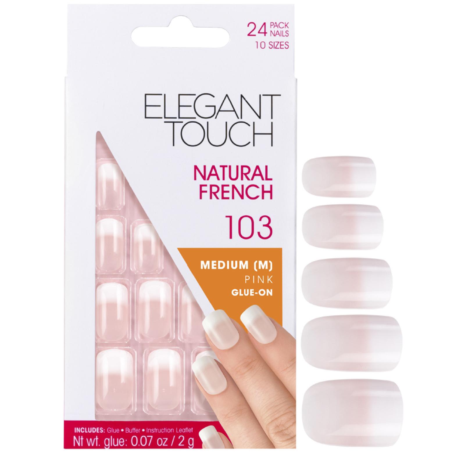 Купить Накладные ногти средней длины с французским маникюром Elegant Touch Natural French Nails— 103 (M) (Pink) (Fade Tip)
