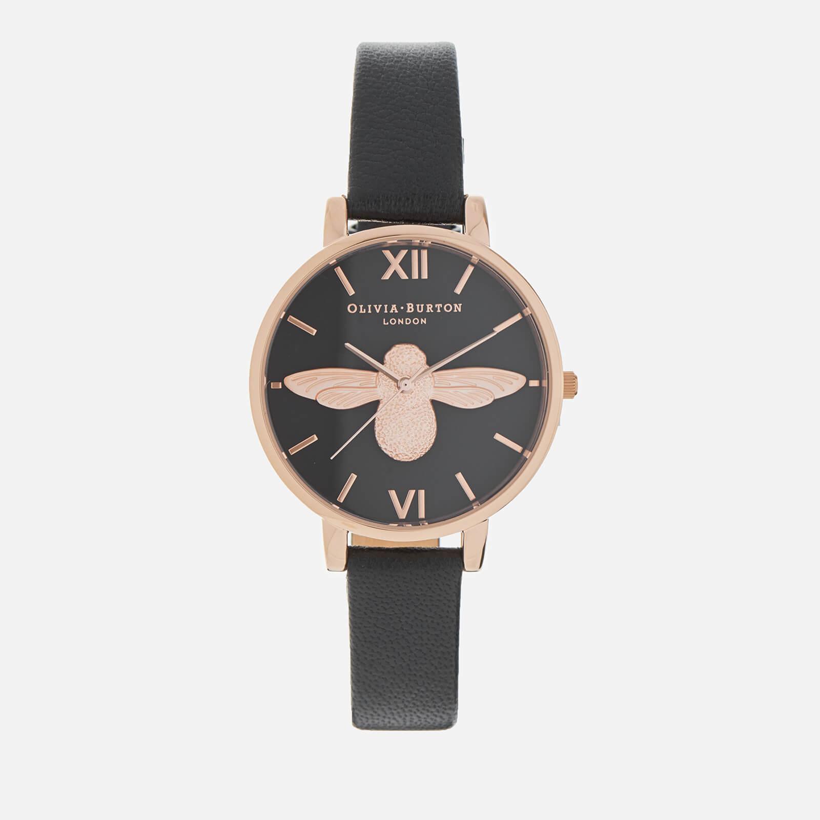 Olivia Burton Women's Black Dial Big Moulded Bee Watch - Rose Gold