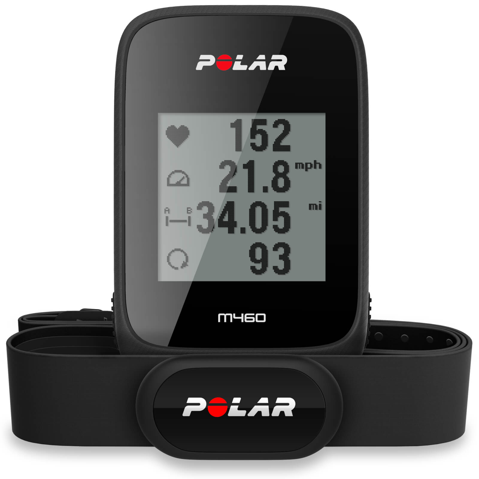 Polar M460 GPS-Fahrradcomputer mit Pulsmessung – Schwarz