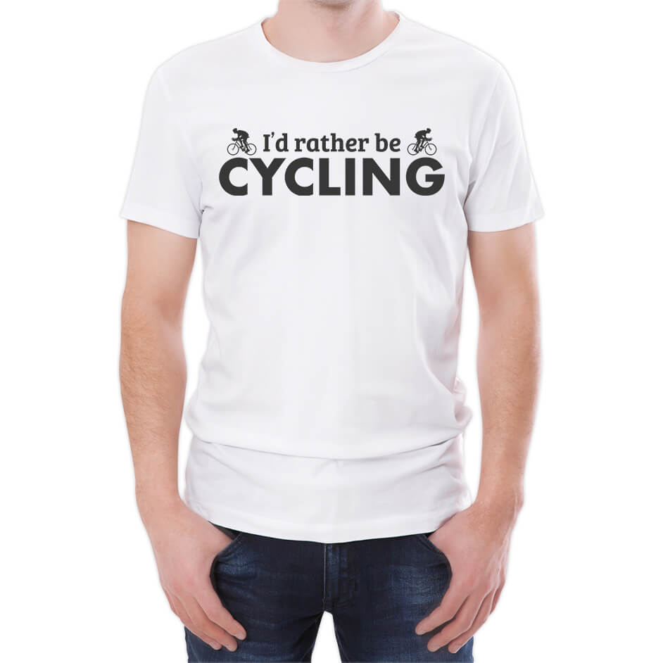 I'd Rather Be Cycling Men's White T-Shirt - M - White