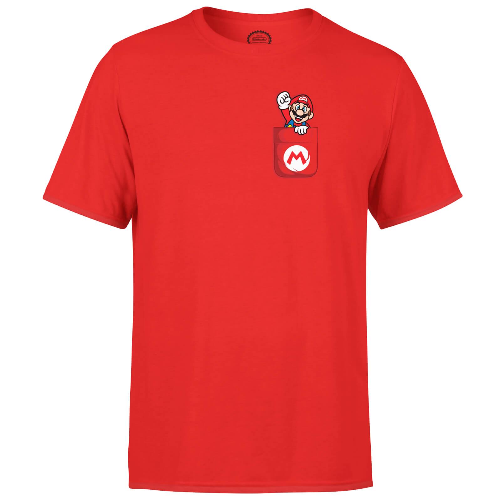 Image of T-Shirt Nintendo Super Mario Mario Pocket Print - Rosso - Uomo - XXL