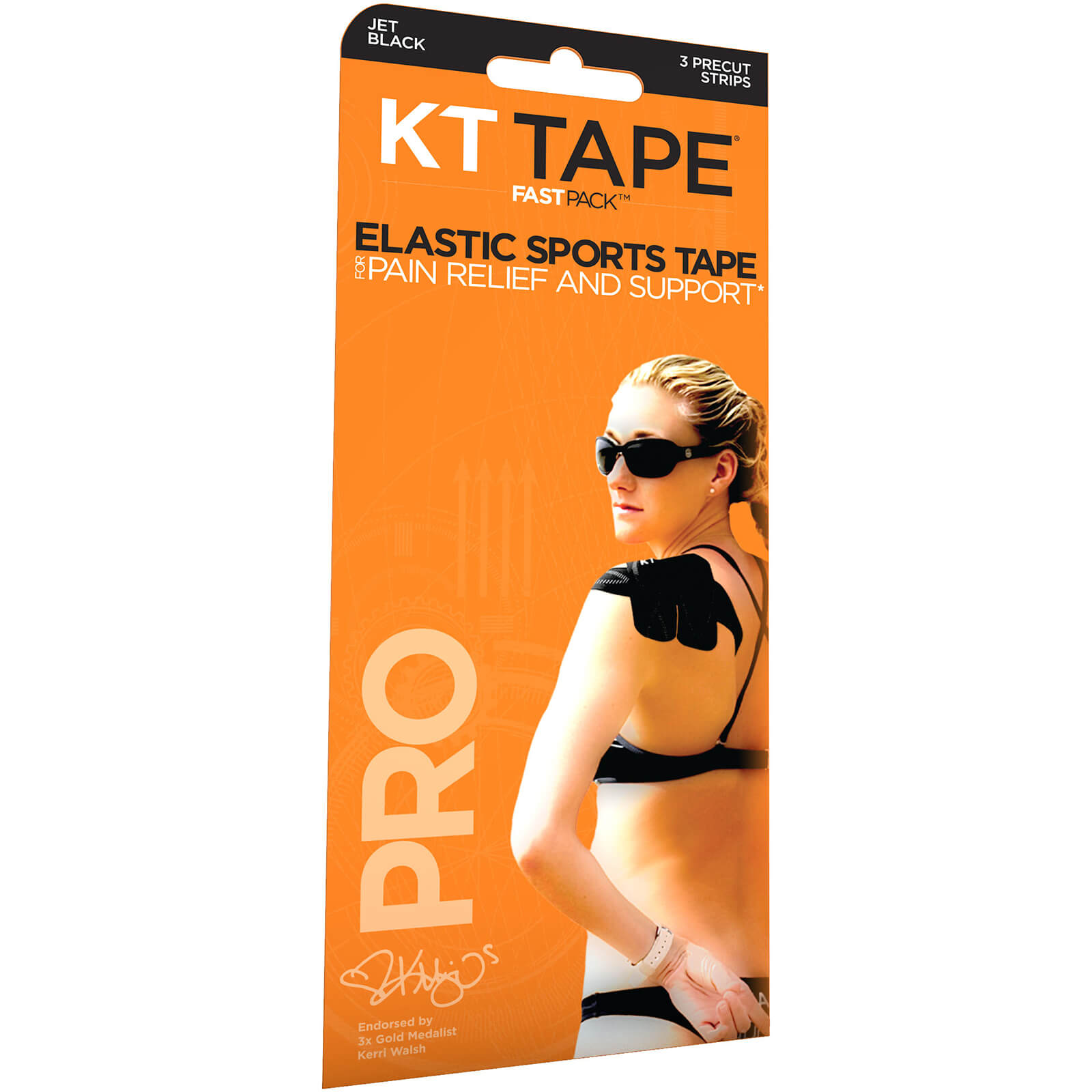 KT Tape Pro Synthetic Strips - 3 Strips - Jet Black