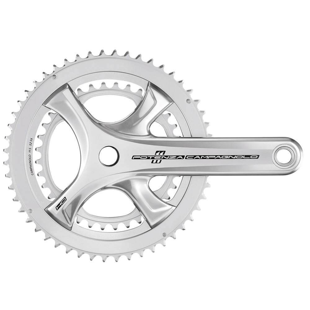 campagnolo potenza 11 speed ho ultra torque chainset - silver - 52-36t x 175mm - silver