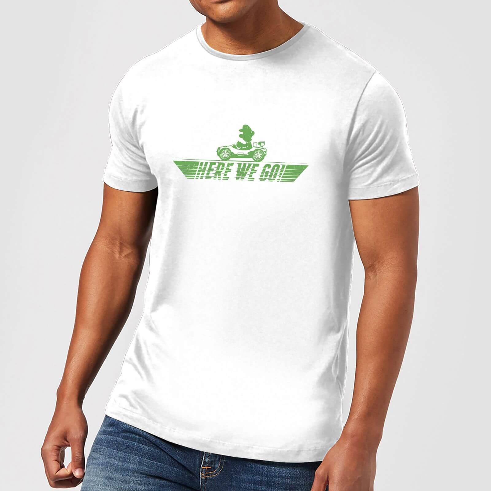 Image of T-Shirt Nintendo Mario Kart Here We Go Luigi Mario - Uomo - XXL - Light Grey