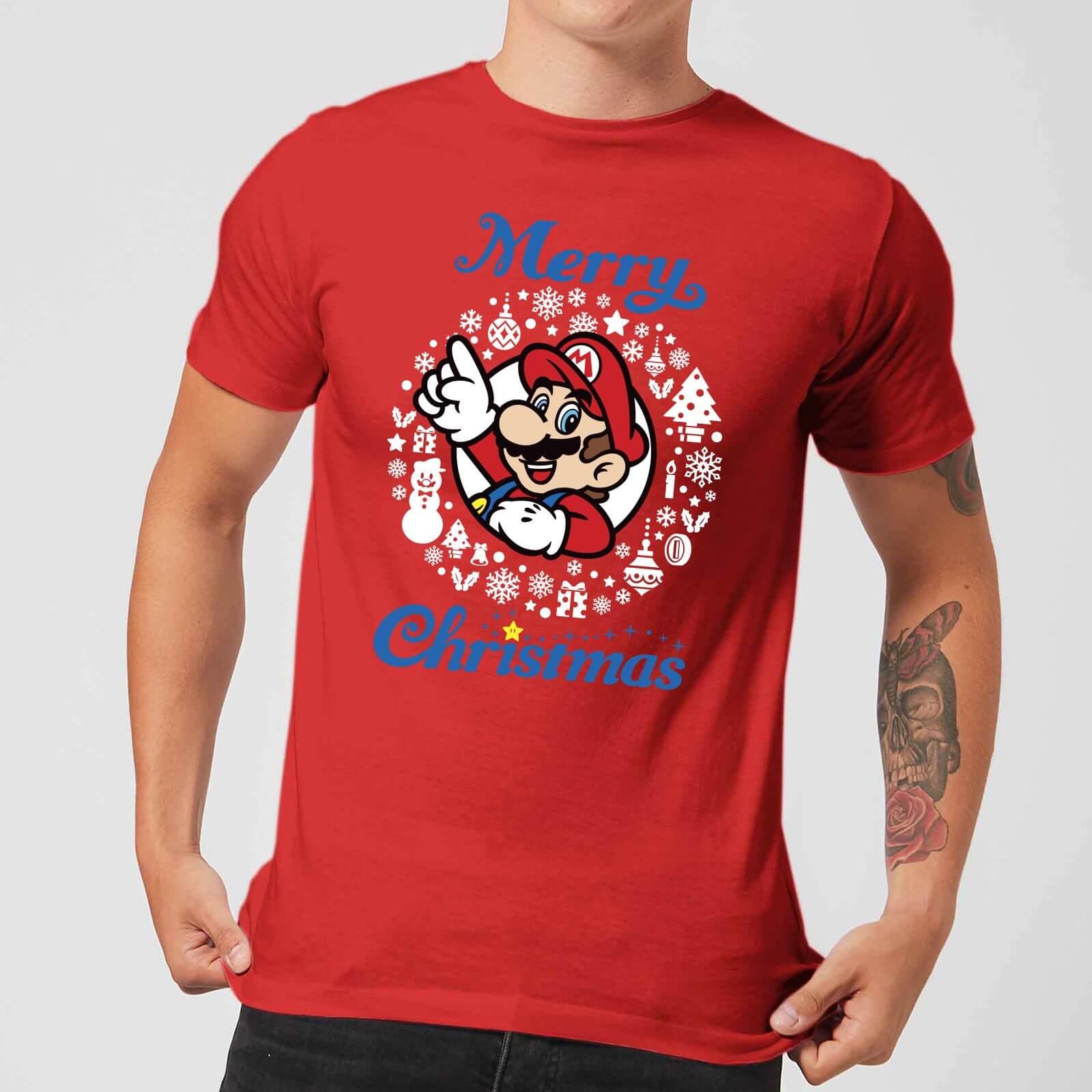 Image of T-Shirt Nintendo Super Mario Mario White Wreath Merry Christmas Red - S