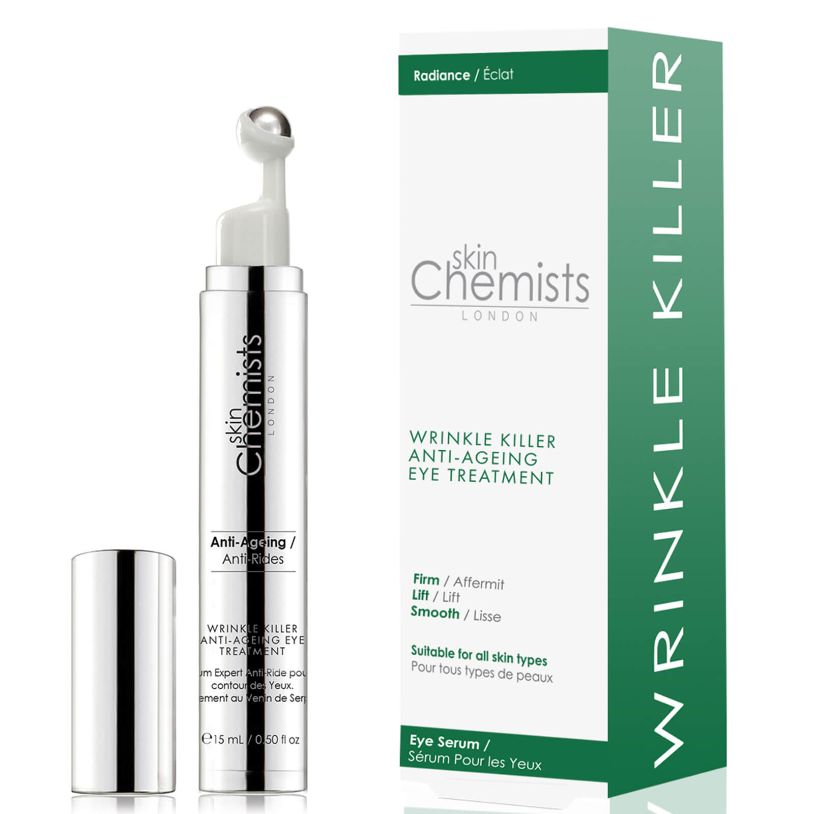 Купить Антивозрастная сыворотка против морщин для кожи вокруг глаз skinChemists London Wrinkle Killer Anti-Ageing Eye Treatment 15мл