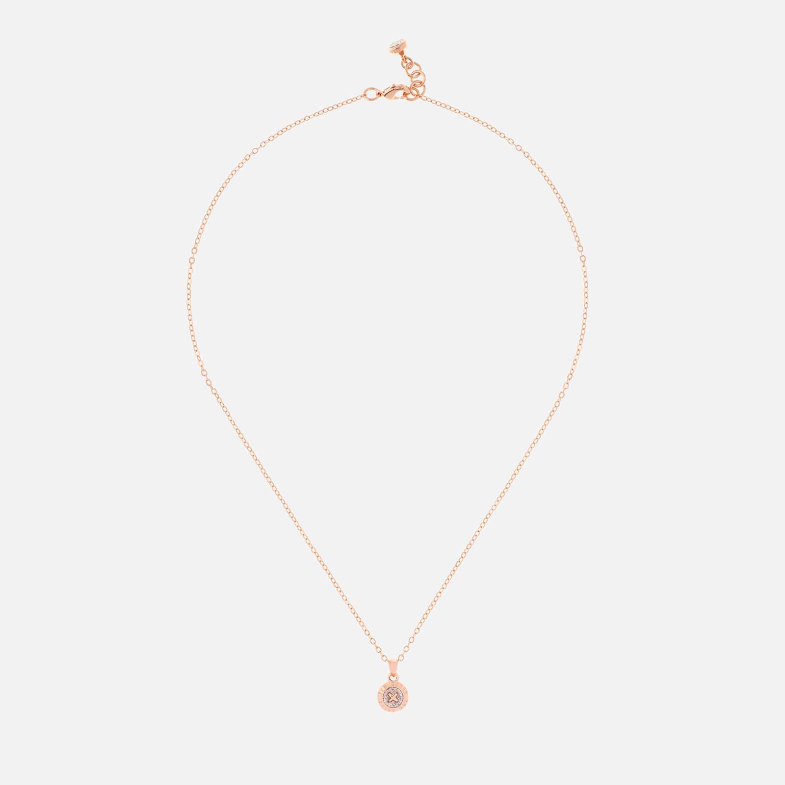 Ted Baker Women's Elvina Enamel Mini Button Pendant - Rose Gold/Silver Glitter - Rose Gold