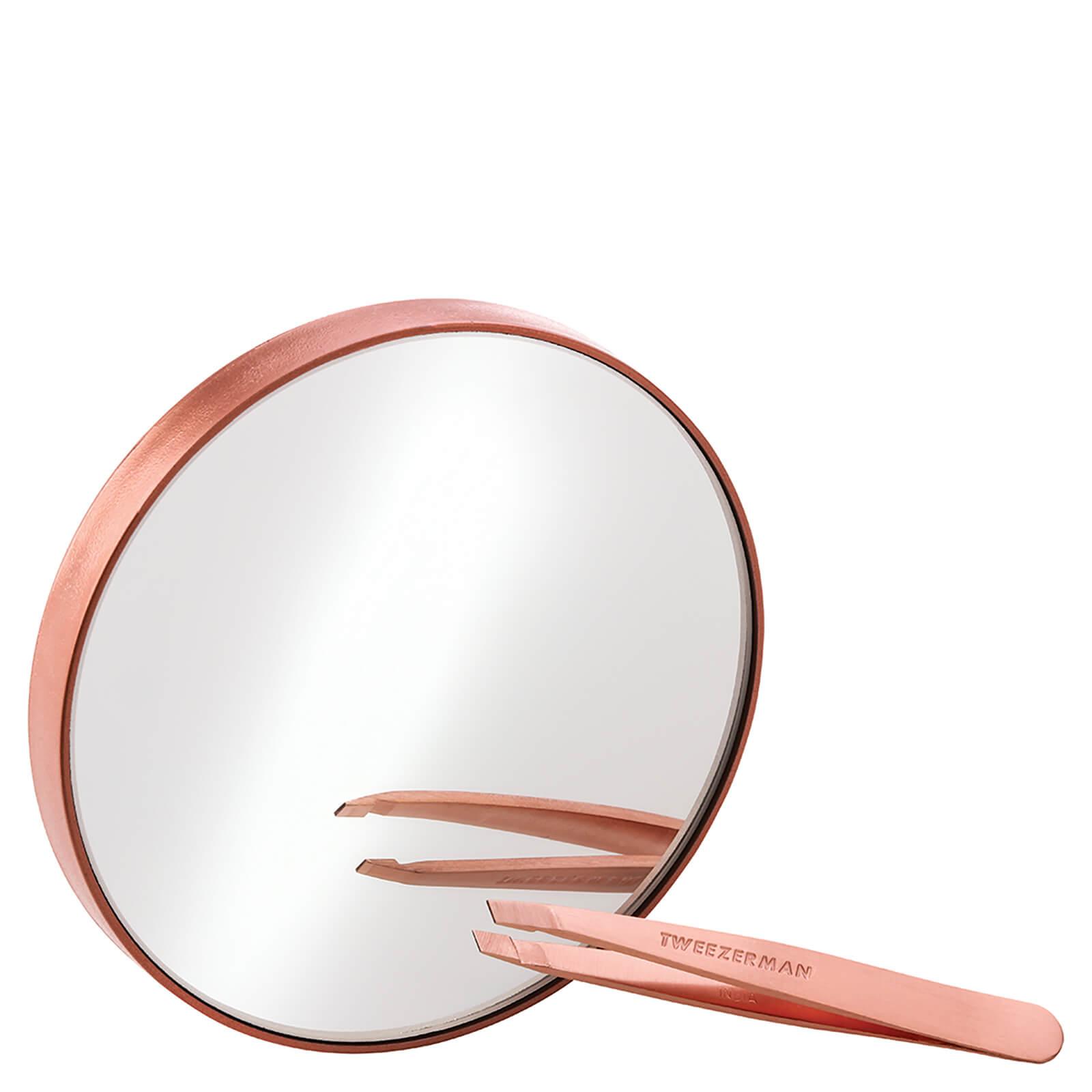 Купить Мини-пинцет и зеркало с 10-кратным увеличением Tweezerman Rose Gold Mini Slant Tweezer and 10x Mirror