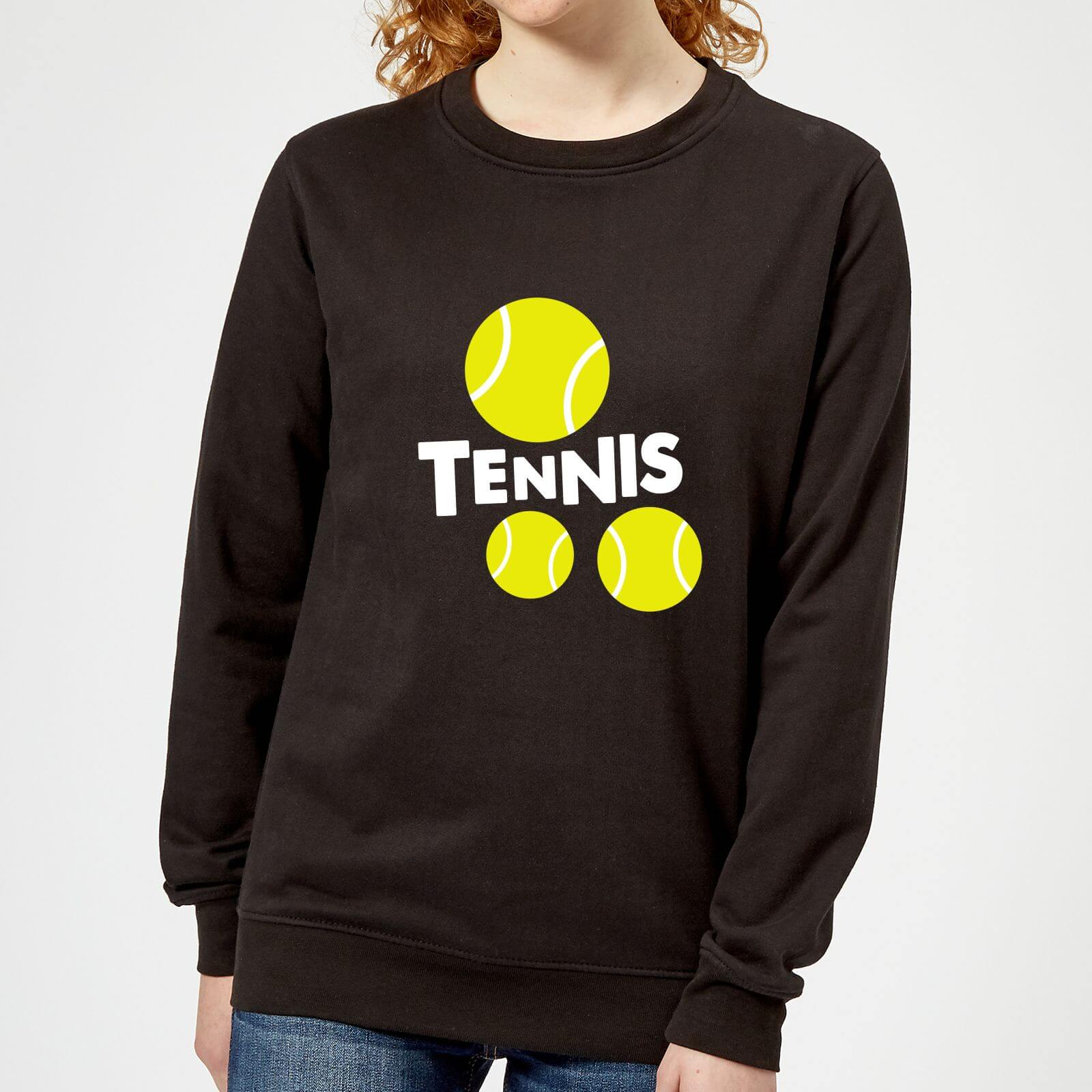 Tennis Balls Womens Sweatshirt   Black   XS   Black