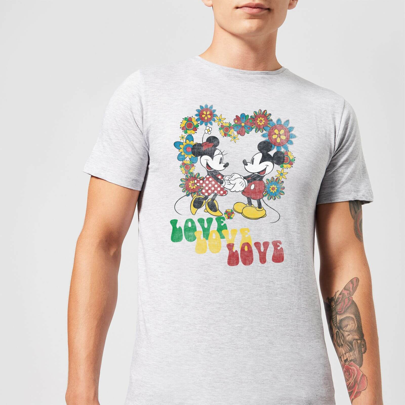 Disney Disney Mickey Mouse Hippie Love T-Shirt - Grey - 4XL - Grey