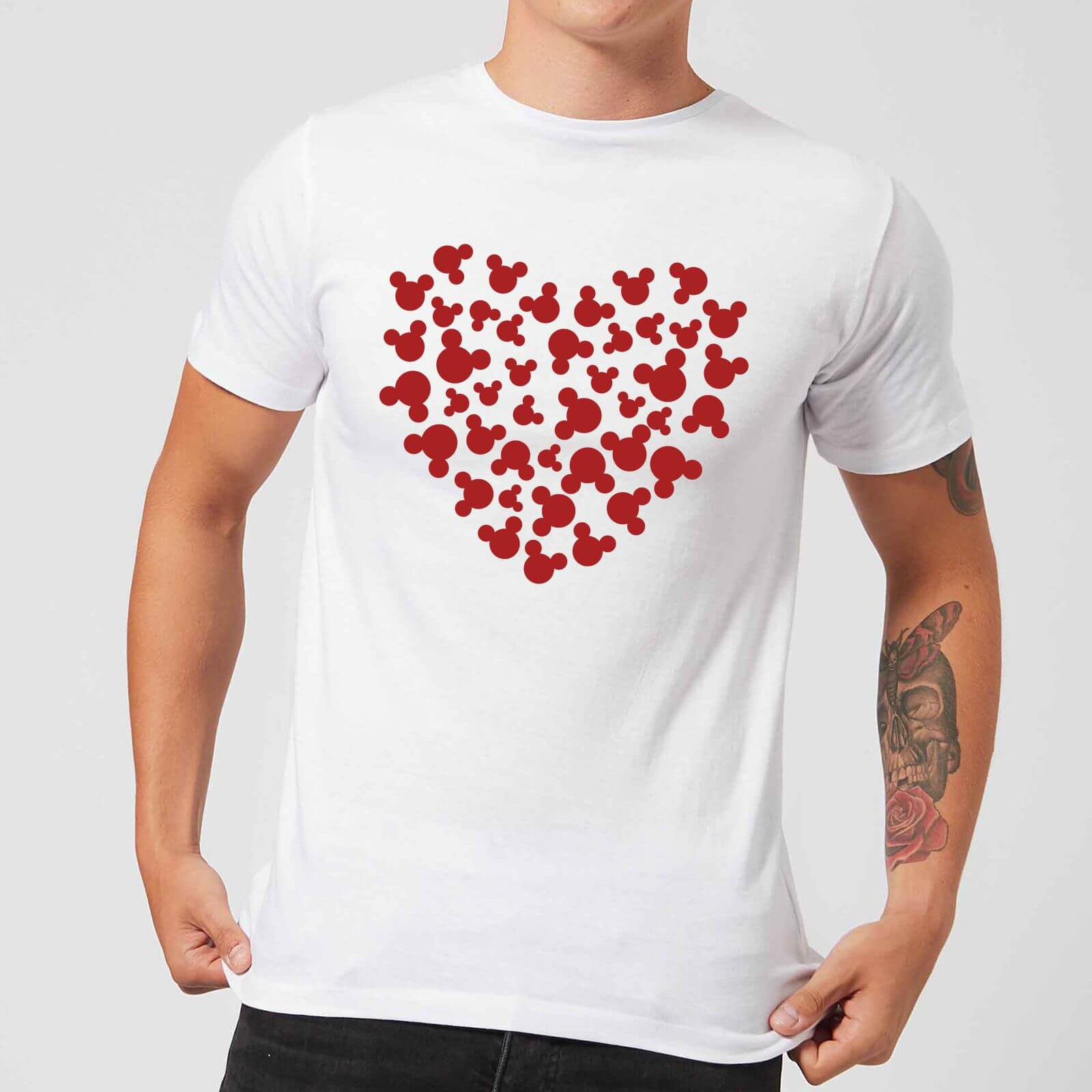 Disney Disney Mickey Mouse Heart Silhouette T-Shirt - White - 4XL - White