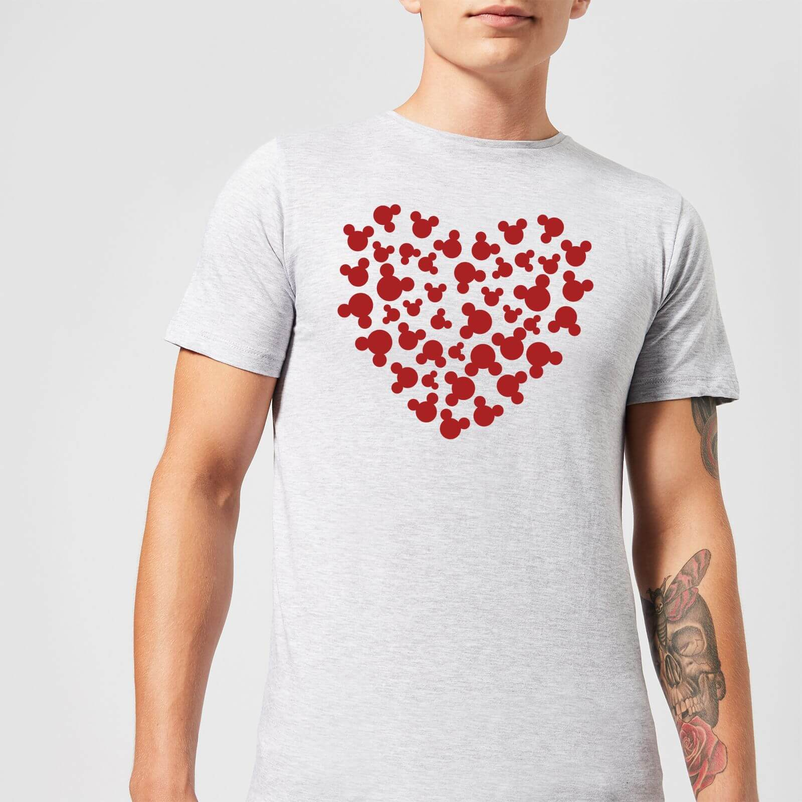 Disney Disney Mickey Mouse Heart Silhouette T-Shirt - Grey - 5XL - Grey