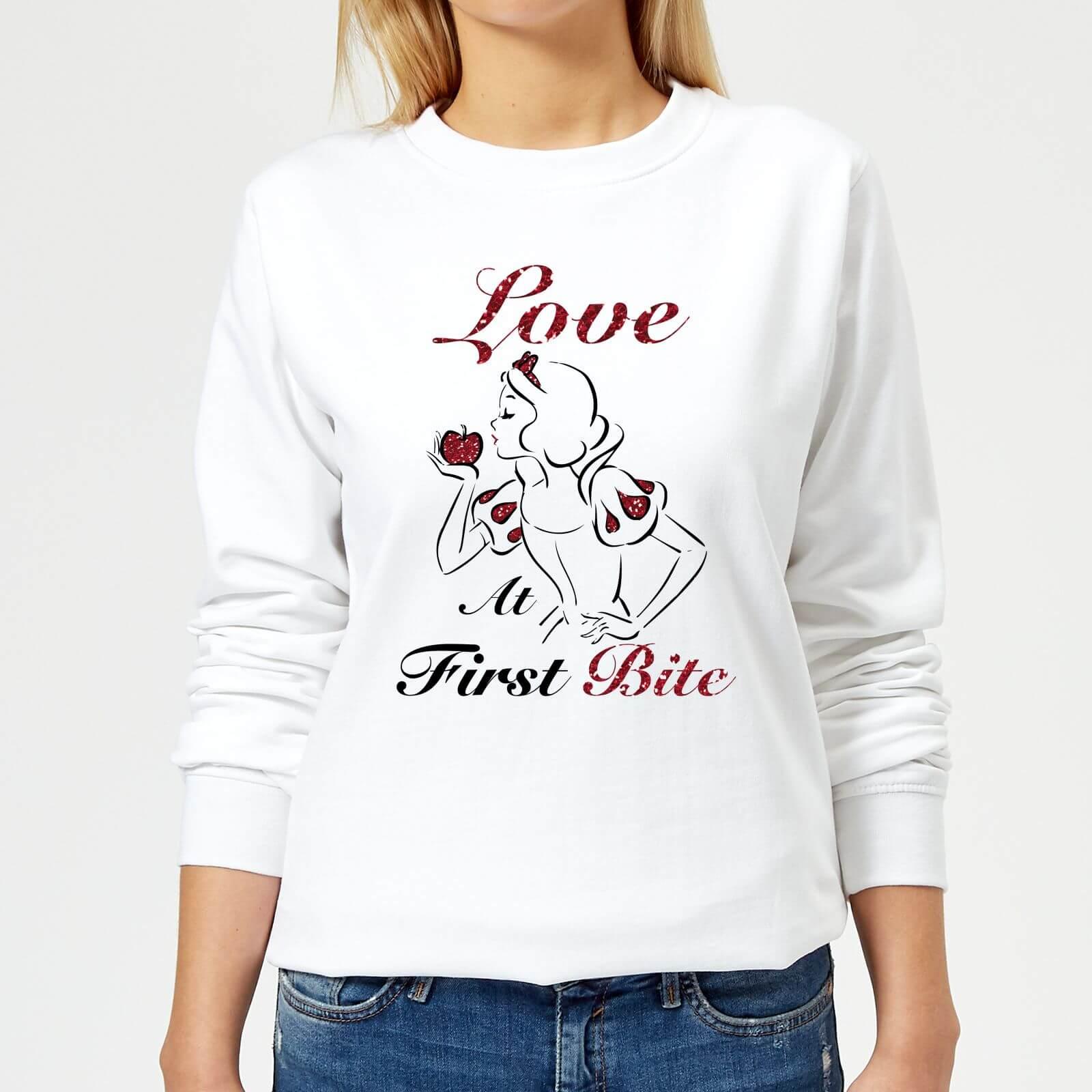disney princess snow white love at first bite women's sweatshirt - white - xs - white
