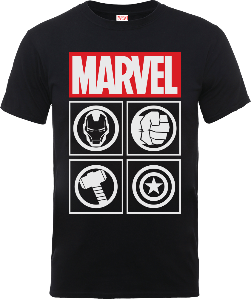Marvel Avengers Assemble Icons T-Shirt - Black - S - Black