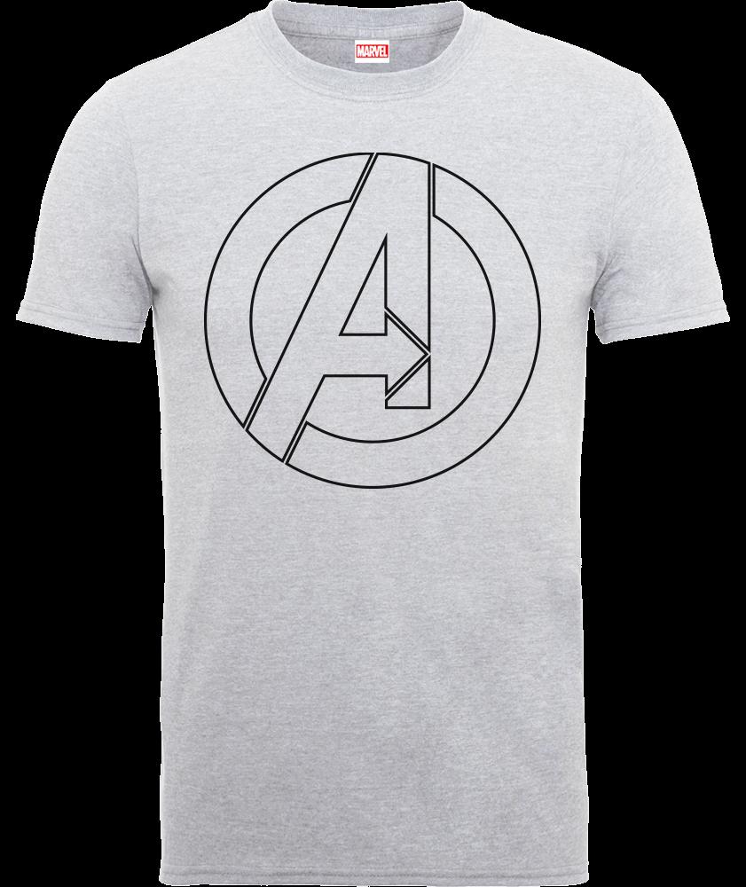 Marvel Avengers Assemble Captain America Outline Logo T-Shirt - Grau - M - Grau