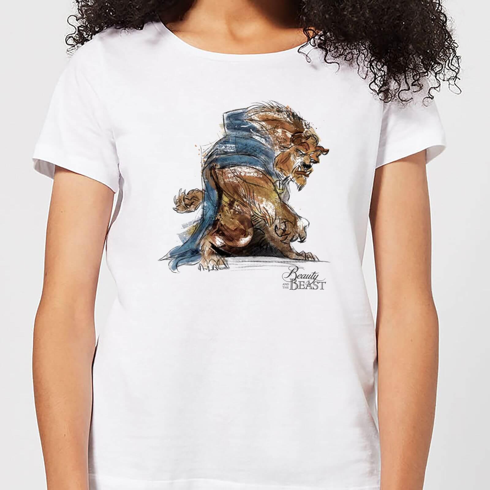 Disney Die Schöne und das Biest Sketch Damen T-Shirt - Weiß - 3XL - Weiß