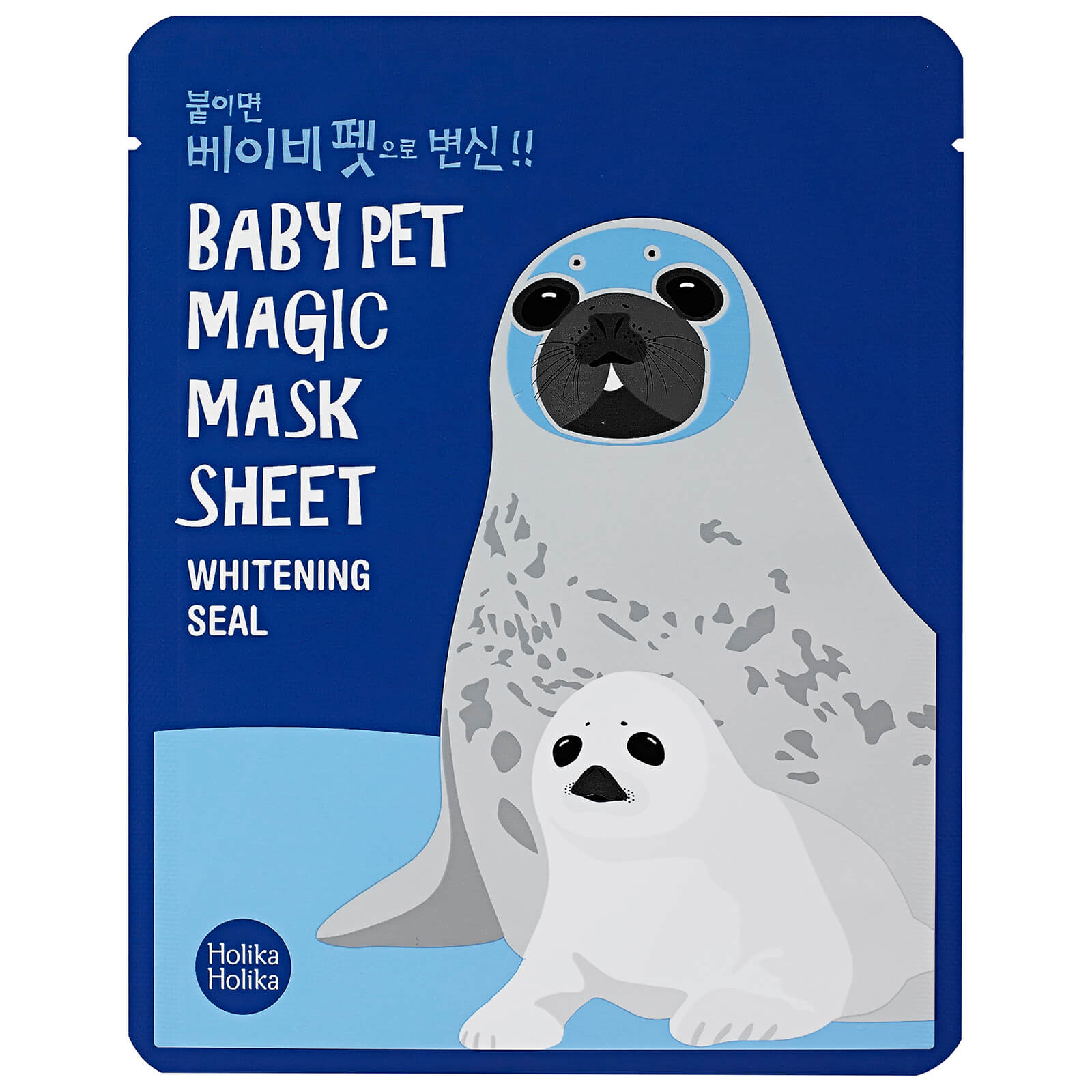 Тканевая маска-мордочка отбеливающая Holika Holika Baby Pet Magic Mask Sheet (тюлень)