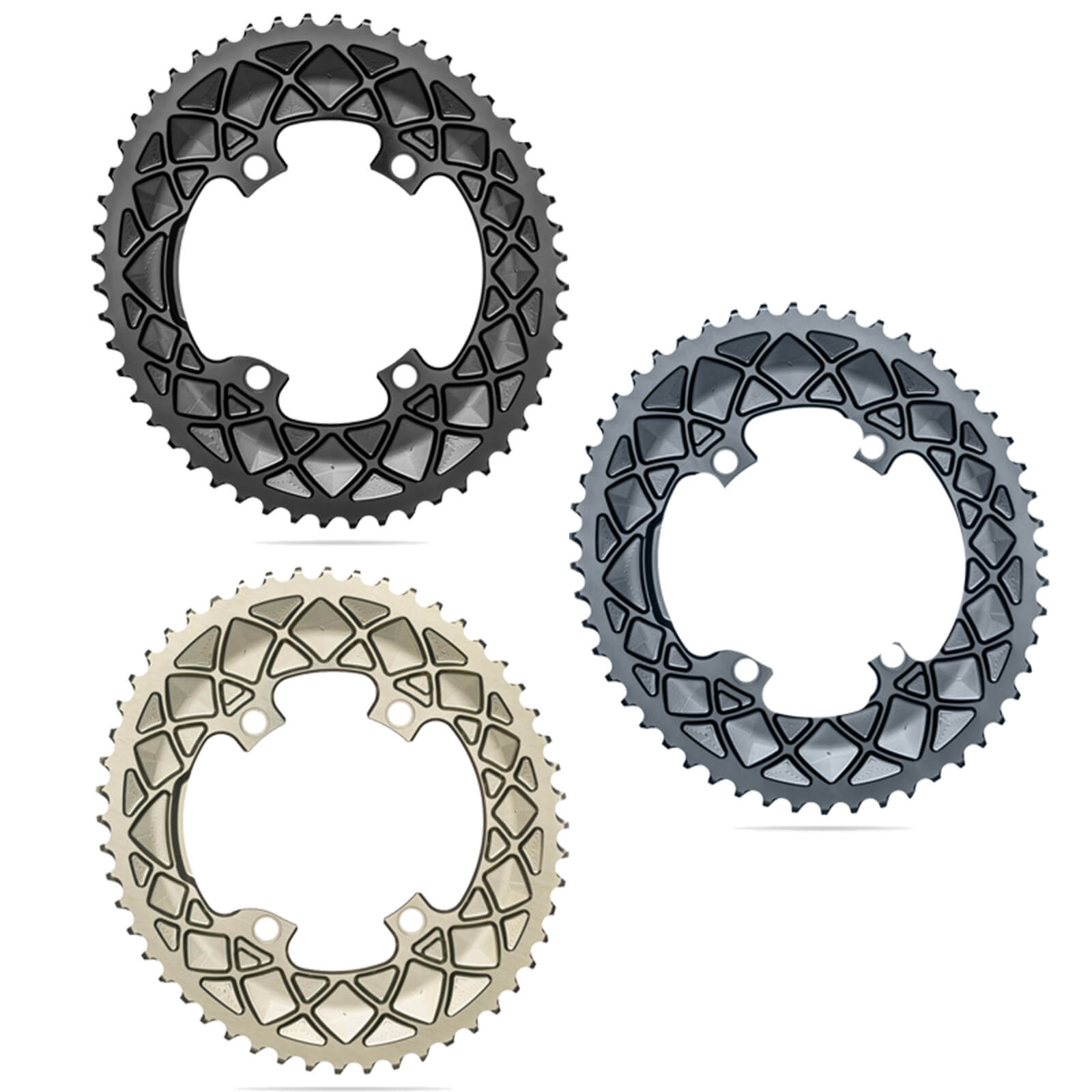 AbsoluteBLACK Sub-Compact Oval Road Chainring - 48T - 4 Bolt 110BCD - Champagne