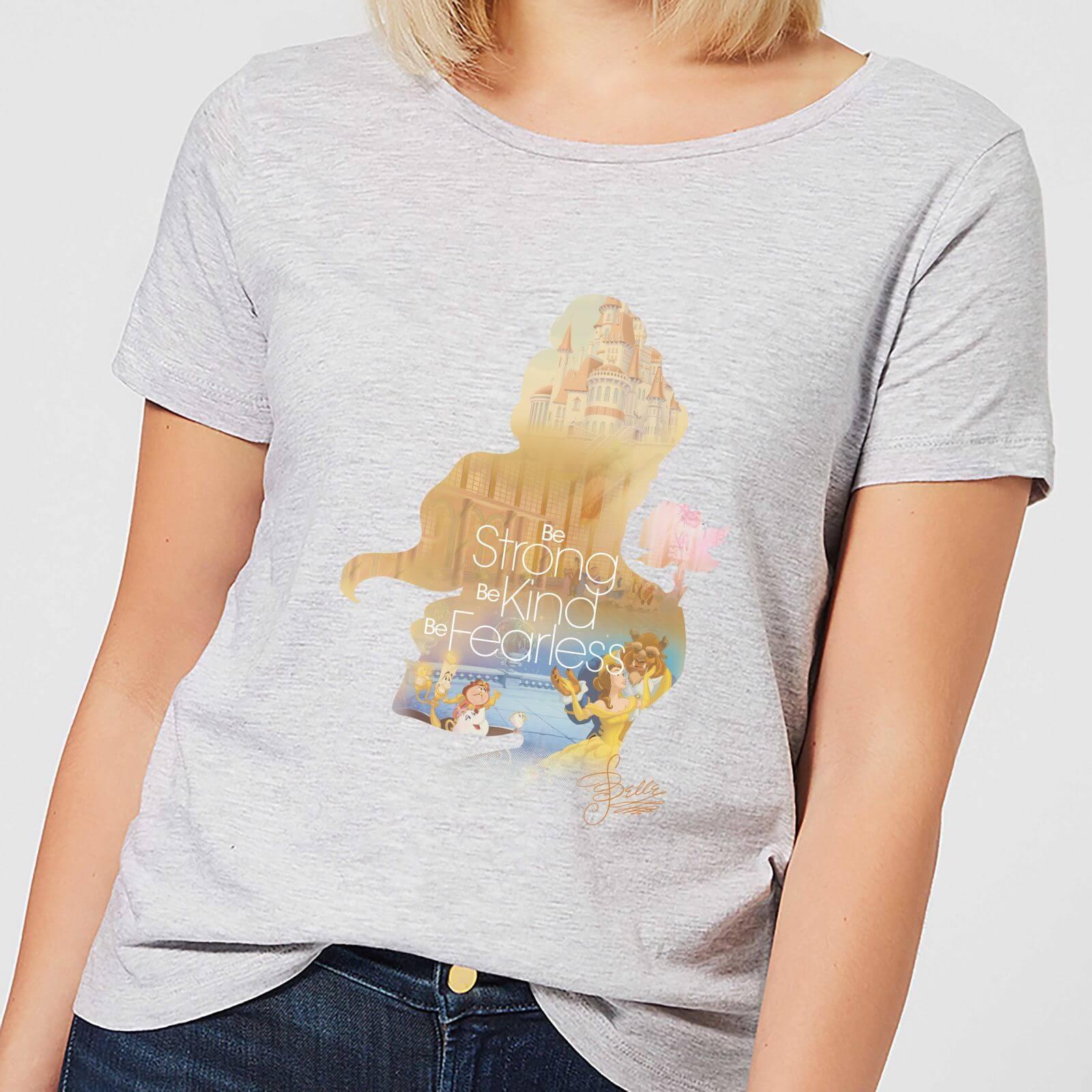 disney princess filled silhouette belle women's t-shirt - grey - xxl - grey