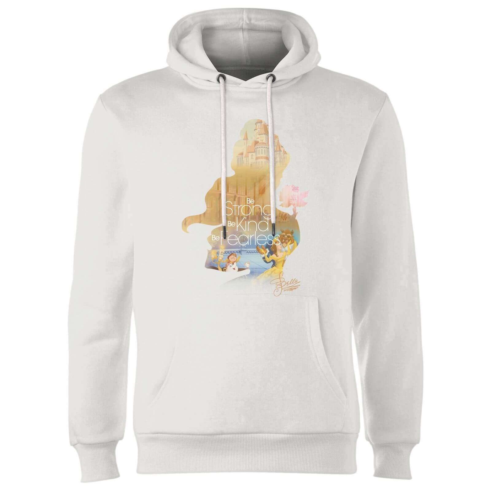 disney princess filled silhouette belle hoodie - white - m - white