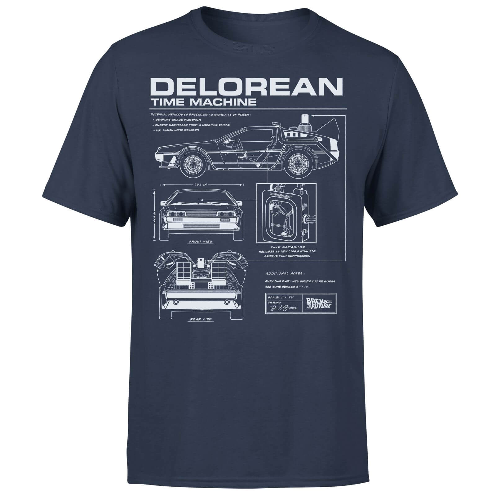 Back to the Future DeLorean Schematic T-shirt - Navy - M - Navy blauw