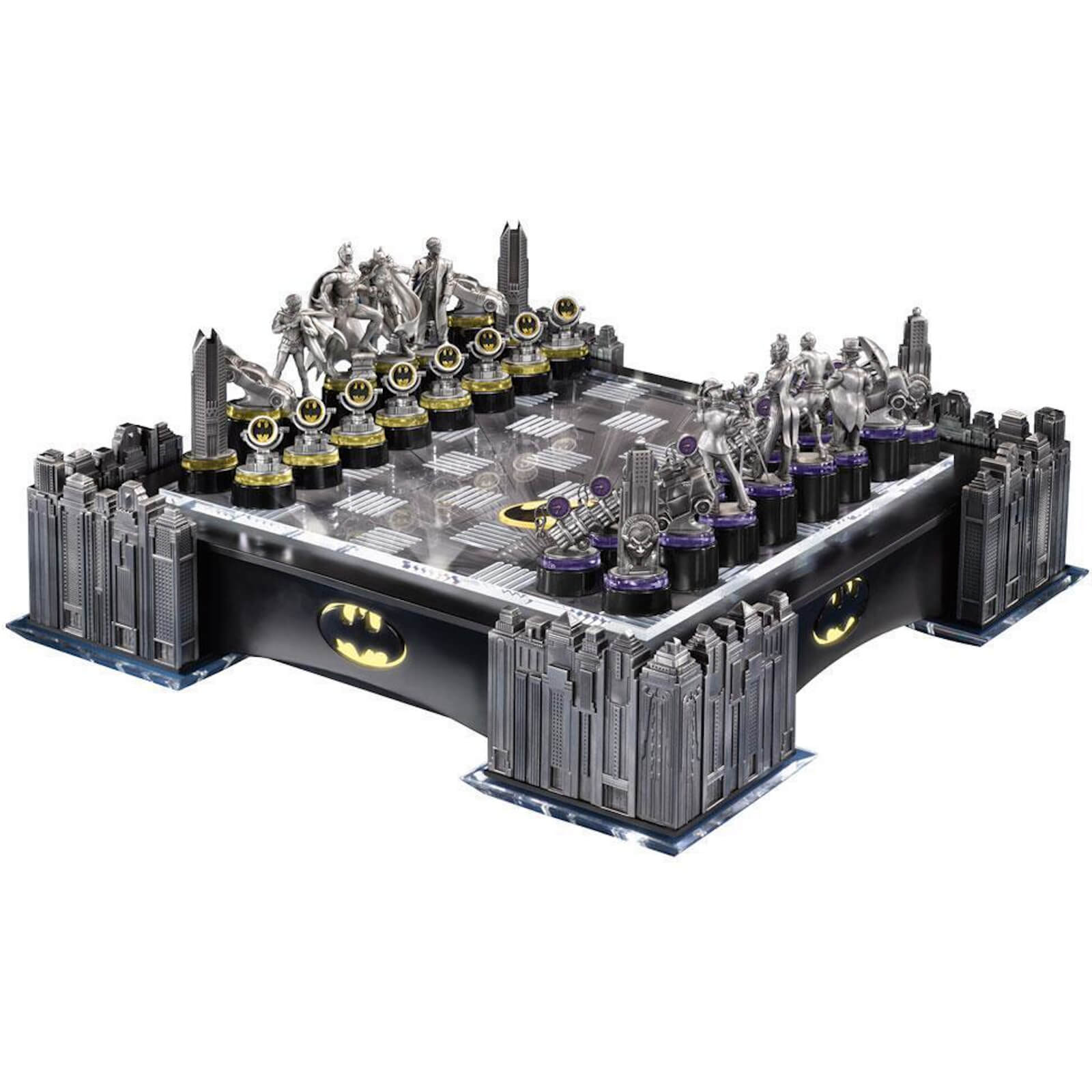 Image of DC Comics Batman Pewter Chess Set with Illuminating Bat Signal