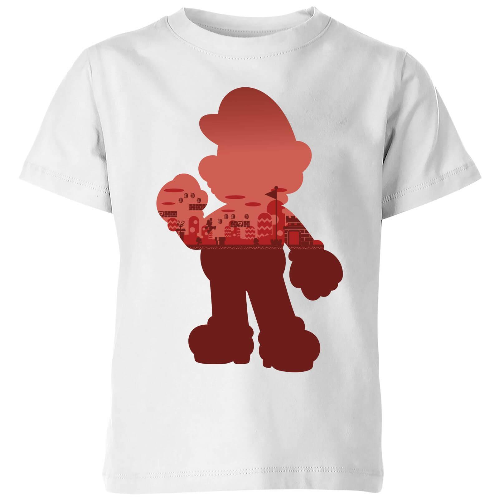 Image of T-Shirt Nintendo Super Mario Mario Silhouette - Bianco - Bambini - 3-4 Anni