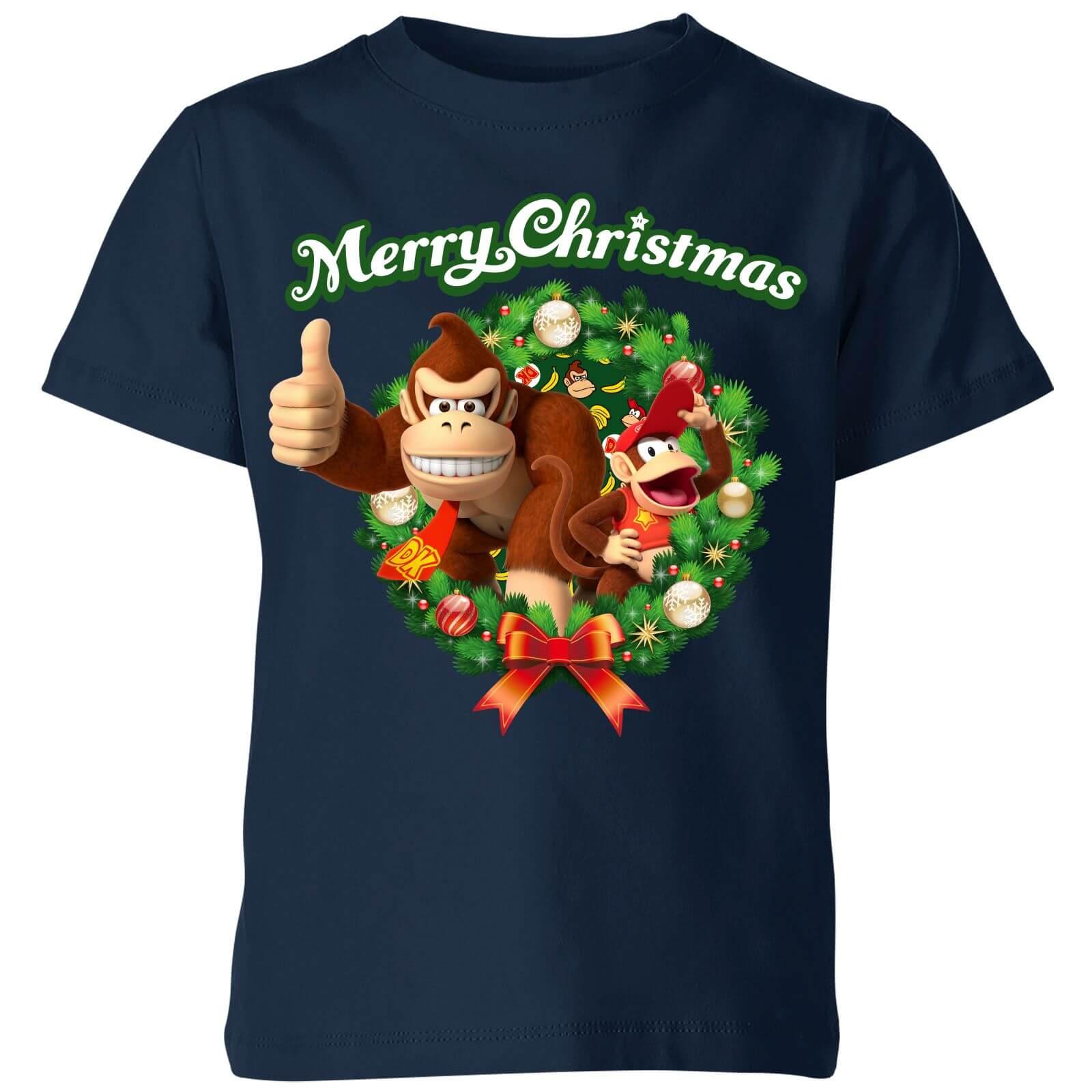 Nintendo Donkey Kong Wreath Thumbs Up Kid's Christmas T-Shirt - Navy - 7-8 Jahre - Marineblau