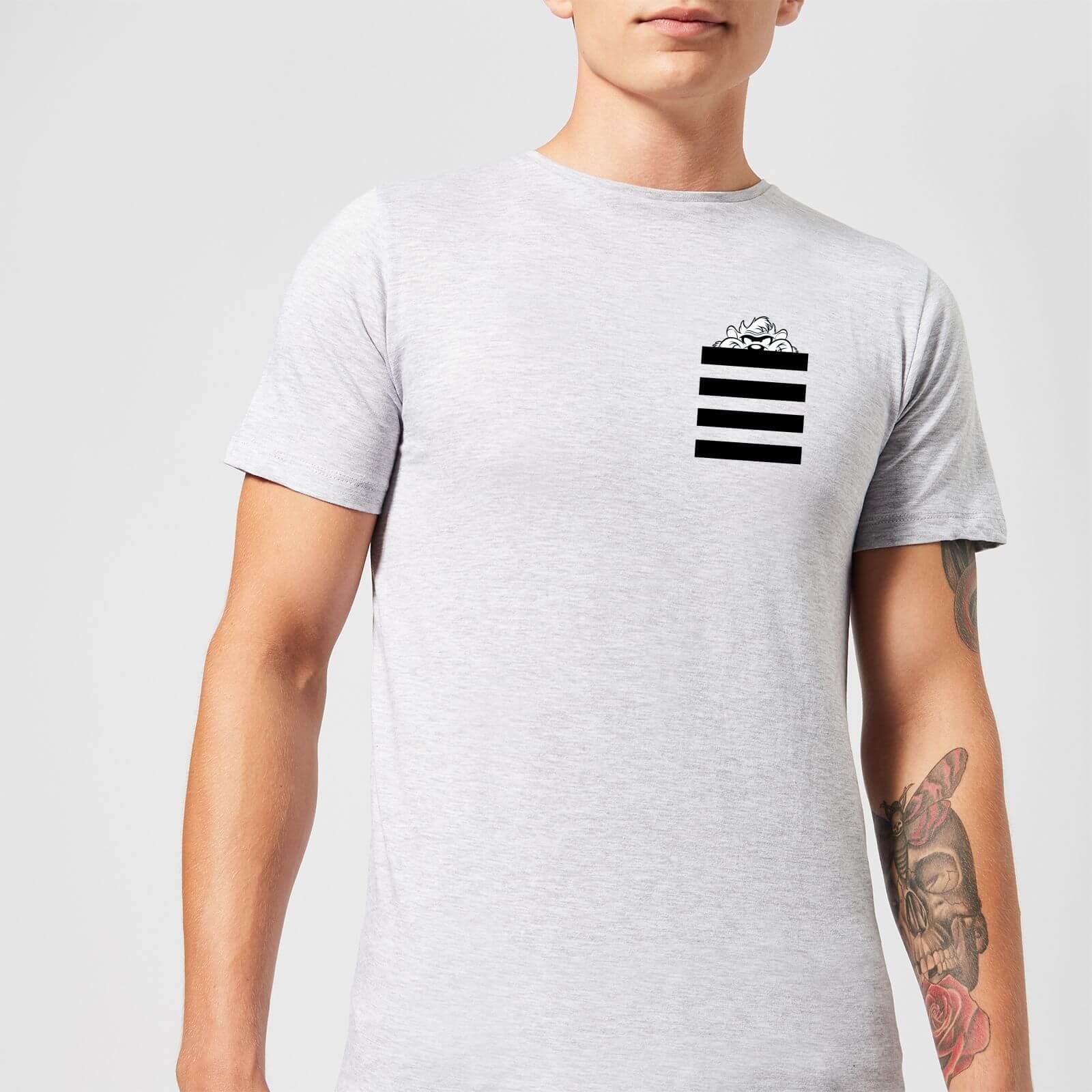 Looney Tunes Taz Stripes Pocket Print Men's T-Shirt - Grey - L - Grey
