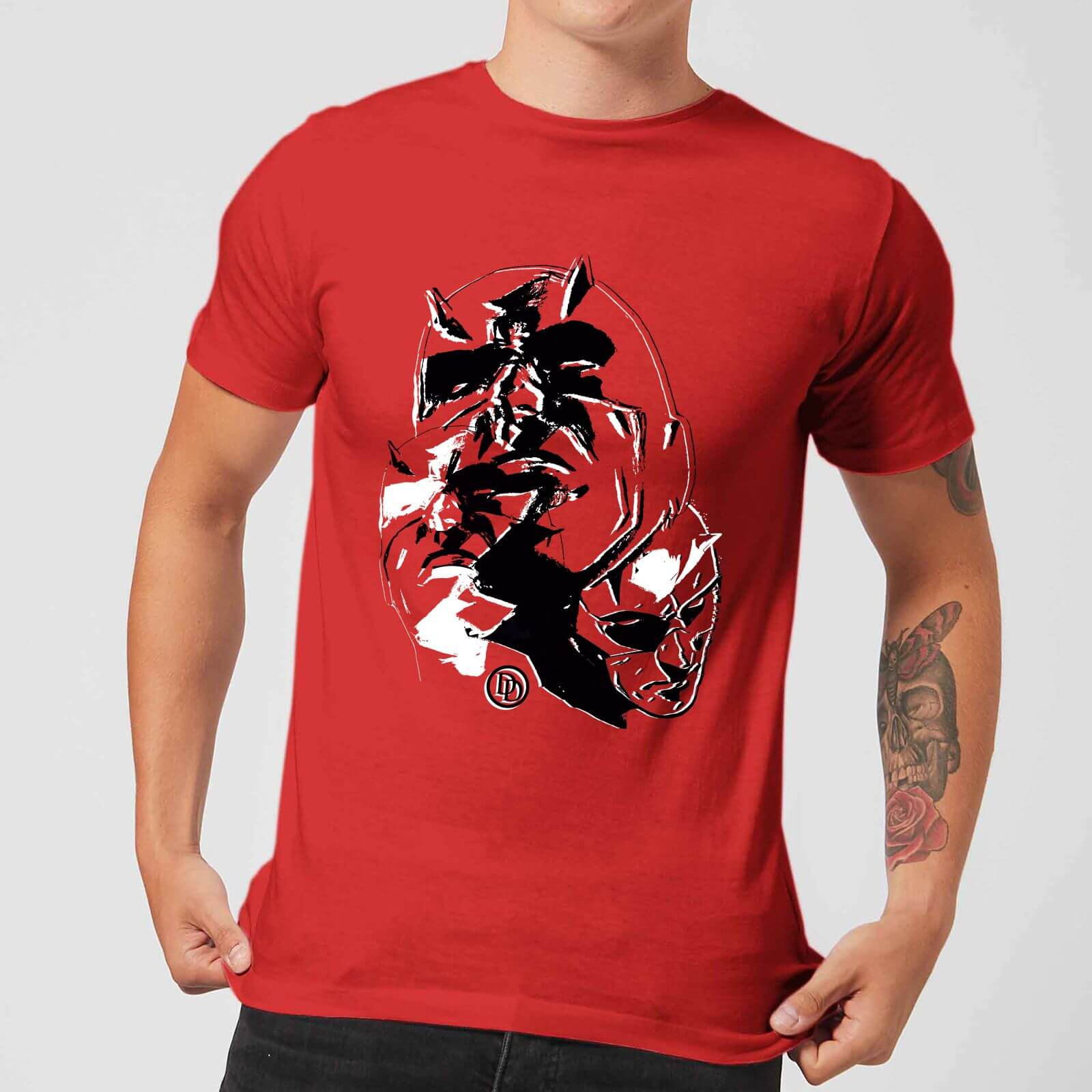 OfferteWeb.click 75-t-shirt-marvel-knights-daredevil-layered-faces-rosso
