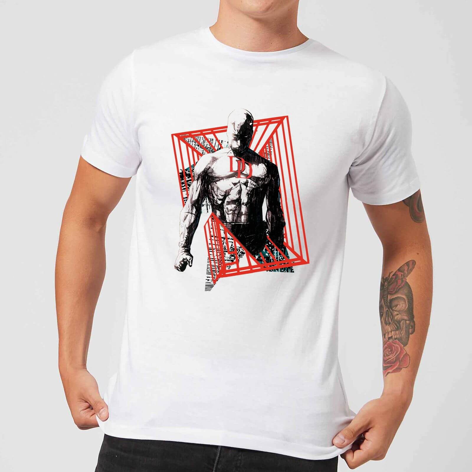 OfferteWeb.click 87-t-shirt-marvel-knights-daredevil-cage-bianco-uomo-l