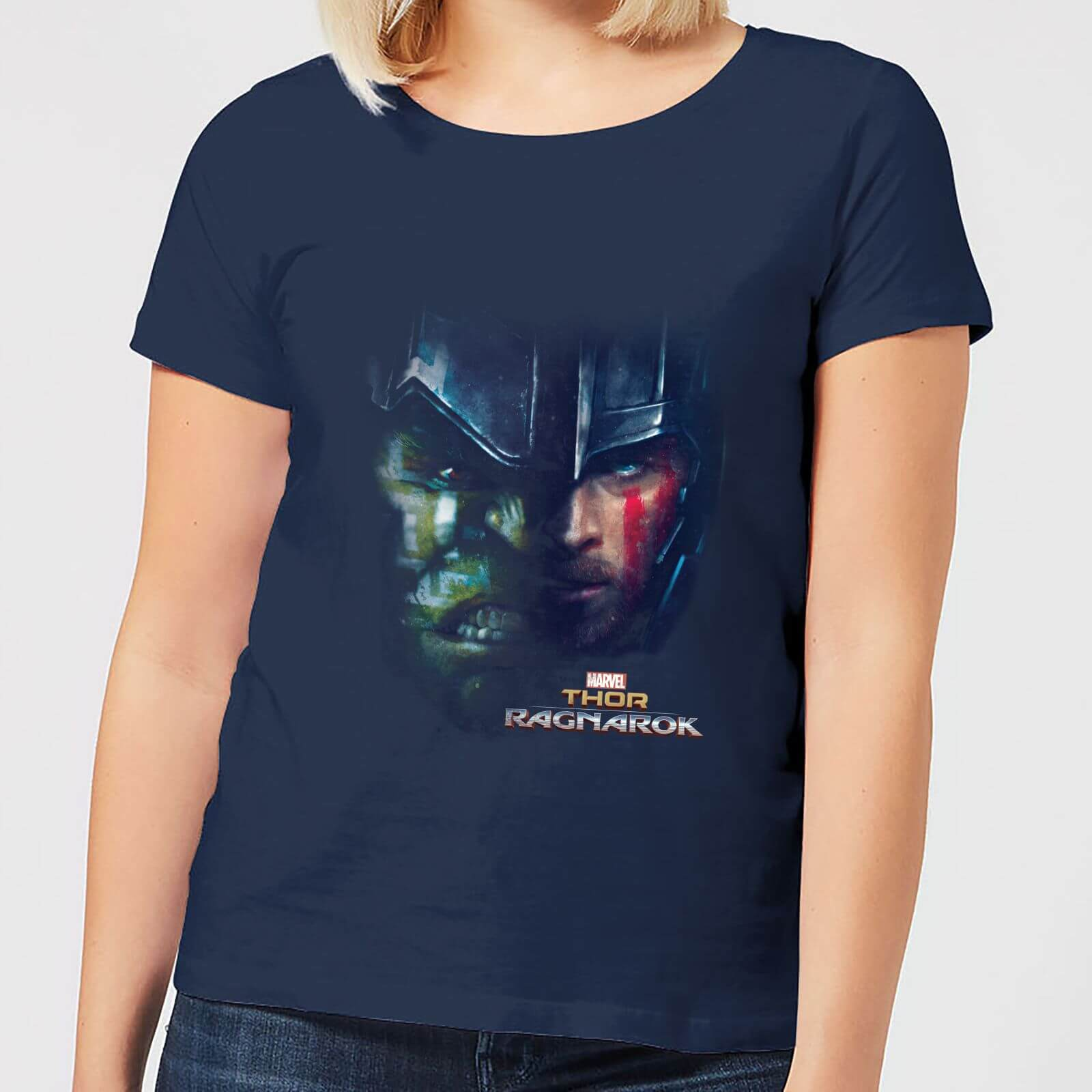 OfferteWeb.click 16-t-shirt-marvel-thor-ragnarok-hulk-split-face-navy-donna